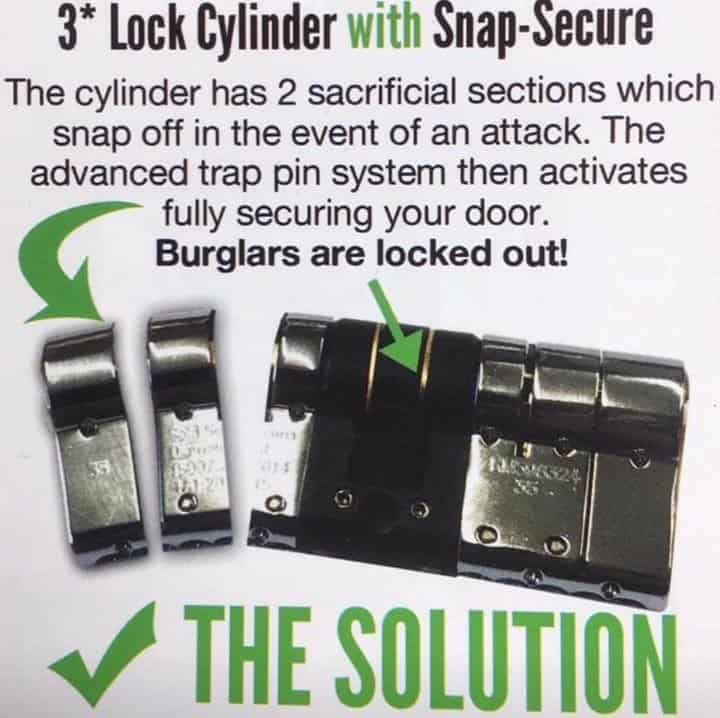 3 star lock cylinder with snap-secure
